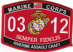 0312 RIVERINE ASSAULT CRAFT USMC MOS MILITARY PATCH SEMPER FIDELIS