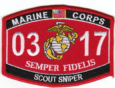 "USMC ""SCOUT SNIPER"" 0317 MOS MILITARY PATCH SEMPER FIDELIS"