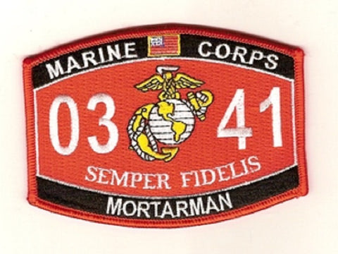 "USMC ""MORTARMAN"" 0341 MOS MILITARY PATCH SEMPER FIDELIS"