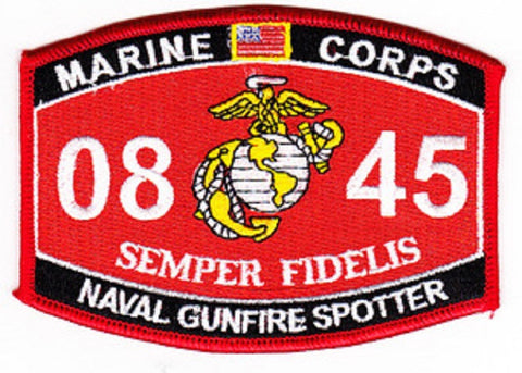 "USMC ""NAVAL GUNFIRE SPOTTER"" 0845 MOS MILITARY PATCH"