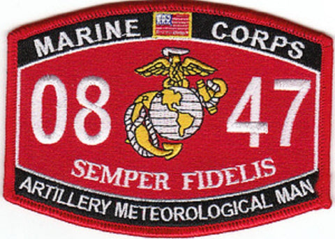 0847 ARTILLERY METEOROLOGICAL MAN USMC MOS MILITARY PATCH