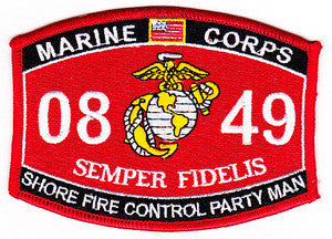 0849 SHORE FIRE CONTROL PARTY MAN USMC MOS MILITARY PATCH
