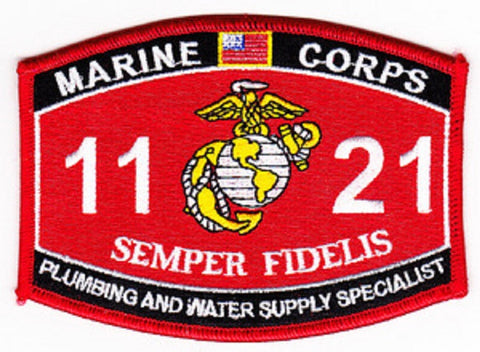 "USMC ""PLUMBING AND WATER SUPPLY SPECIALIST"" 1121 MOS MILITARY PATCH"