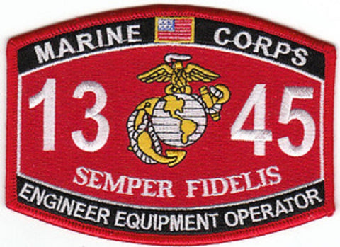 "USMC ""ENGINEER EQUIPMENT OPERATOR"" 1345 MOS MILITARY PATCH"