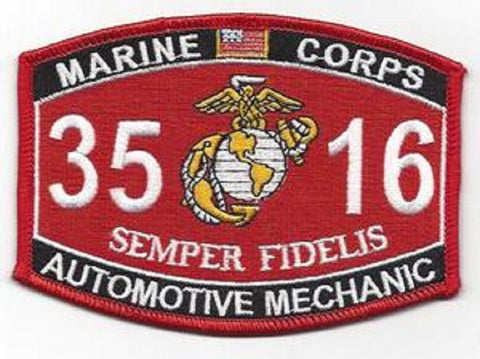"3516 USMC ""AUTOMOTIVE MECHANIC""  MOS MILITARY PATCH"