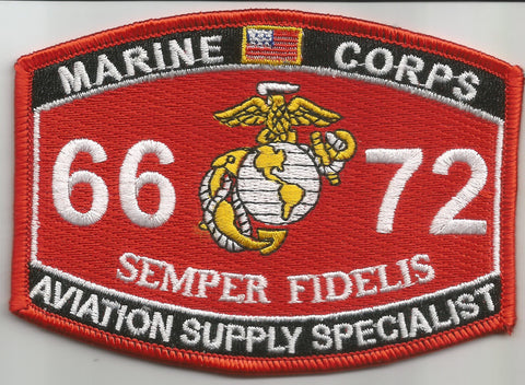 "6672 USMC ""AVIATION SUPPLY SPECIALIST"" MOS MILITARY PATCH"