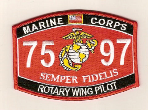 "7597 USMC ""ROTARY WING PILOT"" MOS MILITARY PATCH"