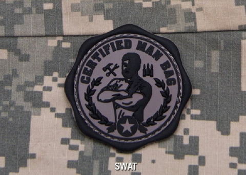 CERTIFIED MAN BAG - SWAT - TACTICAL BADGE MORALE PVC VELCRO MILITARY PATCH