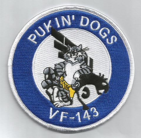 NAVY VF-143 Aviation Fighter Squadron Military Patch TOMCAT PUKIN' DOGS