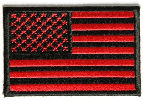 "RED & BLACK AMERICAN 3"" FLAG PATCH"