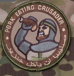 PORK EATING CRUSADER - ARID - TACTICAL BADGE COMBAT BLACK OPS MORALE HOOK MILITARY PATCH