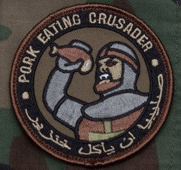 PORK EATING CRUSADER - FOREST - TACTICAL BADGE COMBAT BLACK OPS MORALE VELCRO MILITARY PATCH