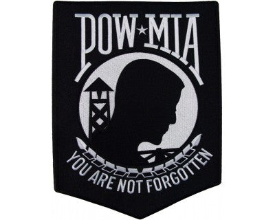 United States ARMED FORCES POW MIA You Are Not Forgotten Military BACK Patch - BLACK & WHITE