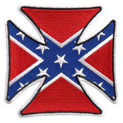 REBEL CONFEDERATE FLAG IRON CROSS PATCH