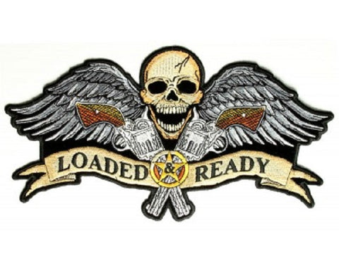 SKULL and WINGS and GUNS - LOADED AND READY BACK PATCH