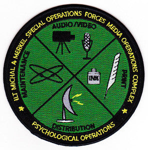 ARMY LT Michael A Merkel Special Operations Forces Media Operations Complex Psychological Operations Military Patch MAINTENANCE AUDIO/VIDEO PRINT DISTRIBUTION