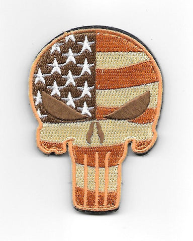 PUNISHER SKULL HOOK & LOOP PATCH - DESERT USA FLAG
