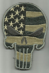 PUNISHER SKULL VELCRO MORALE PATCH - ACU LIGHT FLAG