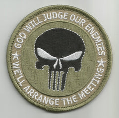 PUNISHER GOD WILL JUDGE OUR ENEMIES IRAQ OIF OEF KHAKI MILITARY PATCH