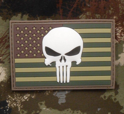 PUNISHER SKULL GITD USA FLAG 3D PVC VELCRO PATCH - MULTICAM