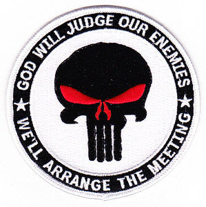 PUNISHER GOD WILL JUDGE OUR ENEMIES IRAQ OIF OEF WHITE MILITARY PATCH
