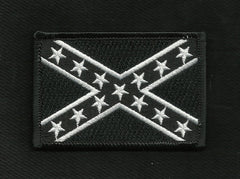 REBEL CONFEDERATE FLAG PATCH - BLACK & WHITE