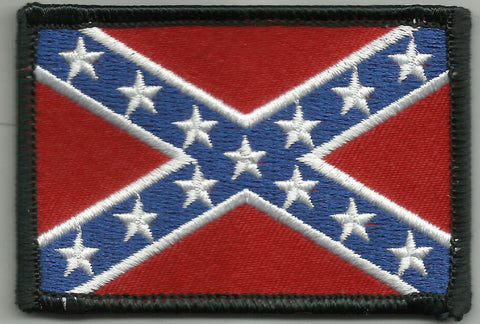 REBEL CONFEDERATE FLAG BIKER PATCH BLACK BORDER