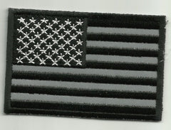 REFLECTIVE USA AMERICAN FLAG BLACK MILITARY/BIKER PATCH