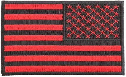 RED & BLACK REVERSED AMERICAN FLAG PATCH