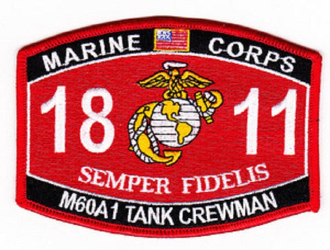 United States Marine Corps Military Occupational Specialty 1811 M60A1 TANK CREWMAN MOS Military Patch