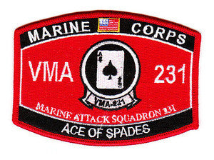 USMC - VMA-231 MOS United States Marine Corps Attack Squadron Two Three One Military Patch ACE OF SPADES