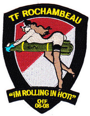 "ARMY 1st Battalion 227th Aviation Regiment 1st Air Cavalry Division Military Patch OIF 06-08 TF ROCHAMBEAU ""IM ROLLING IN HOT!"" HELLFIRE II"