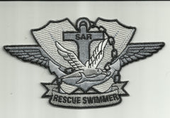 SAR - US NAVY Search and Rescue Swimmer Badge Military Patch - Silver