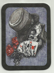 CONFEDERATE SKULL W/ ROSE & CARDS LEATHER PATCH