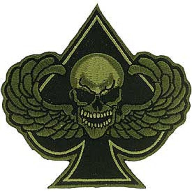 Spades Death Skull With Wings Od Usmilitarypatch