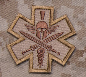 TACTICAL COMBAT MEDIC BADGE SPARTAN - DESERT