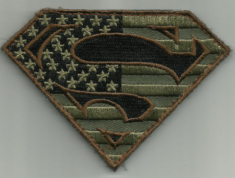 SUPERMAN Hook Backing Morale Military Patch - Forest