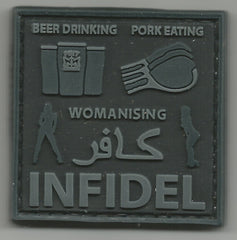 BEER DRINKING PORK EATING WOMANISING INFIDEL 3D PVC HOOK PATCH - BLACK