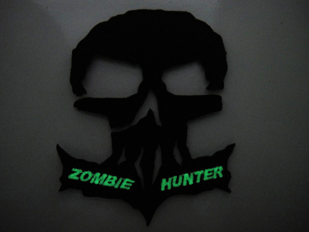 Monster tactical skull zombie hunter velcro patch glow in the.