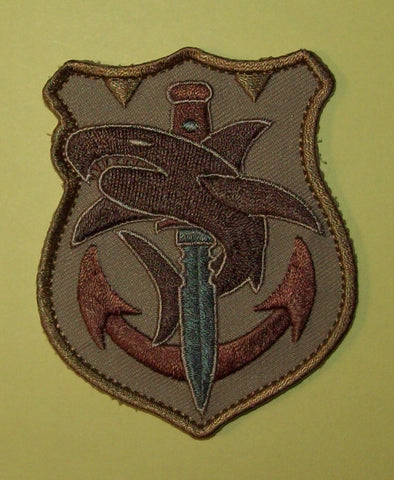 TACTICAL SHARK - DESERT - NAVY SPECIAL OPS TACTICAL BADGE MORALE VELCRO MILITARY PATCH