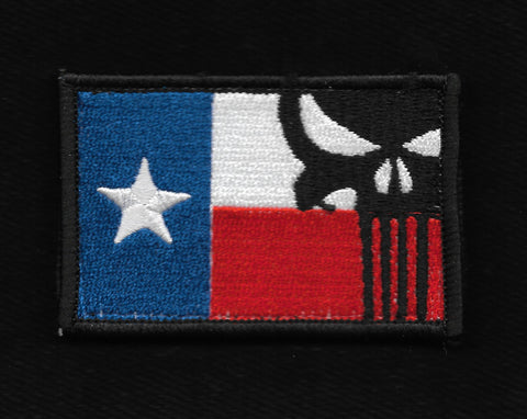 Punisher Texas Flag Hook & Loop Patch -  Full Color