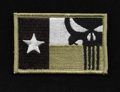 Punisher Texas Flag Velcro Patch - Khaki