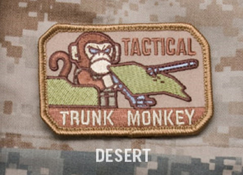 TACTICAL TRUNK MONKEY BADGE MORALE COMBAT VELCRO MILITARY PATCH - DESERT