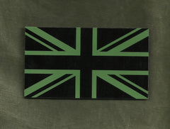 BRITISH UK FLAG IR COVERT VELCRO PATCH - OD GREEN