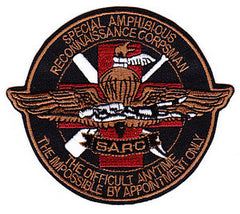United States Navy and Marine Corps SPECIAL AMPHIBIOUS RECONNAISSANCE CORPSMAN Military Patch SARC THE DIFFICULT ANYTIME THE IMPOSSIBLE BY APPOINTMENT ONLY