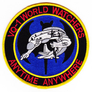 VQ-1 US NAVY Fleet Air Recon Squadron One Military Patch WORLD WATCHERS ANYTIME ANYWHERE