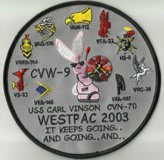 US NAVY USS Carl Vinson CVN 70 WESTPAC 2003 MILITARY PATCH KEEPS GOING AND GOING