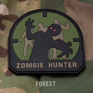 ZOMBIE HUNTER - FOREST - TACTICAL COMBAT BLACK OPS BADGE MORALE PVC RUBBER VELCRO MILITARY PATCH
