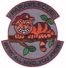 "Pararescue ""We're all mad...you know"" Insignia Beret On Cat - Military Patch"