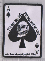 "ACE OF SPADES DEATH CARD ""ARABIC"" YOU CAN RUN VELCRO MORALE MILITARY PATCH"
